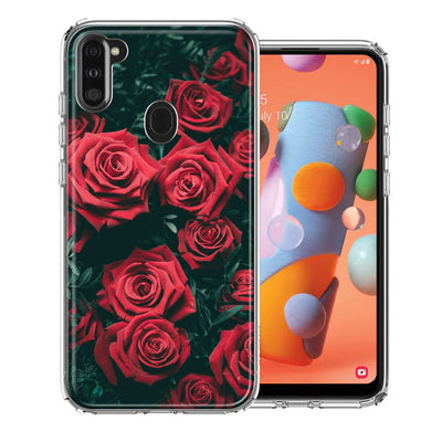 Samsung A11 Red Roses Design Double Layer Phone Case Cover