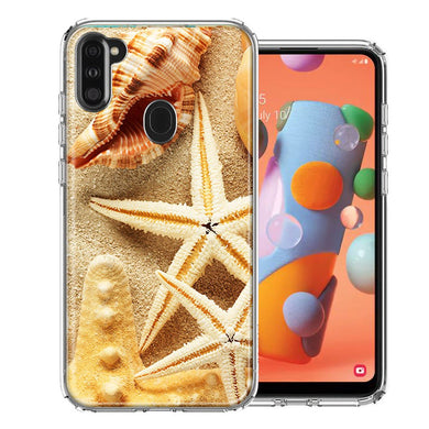 Samsung A11 Sand Shells Starfish Design Double Layer Phone Case Cover