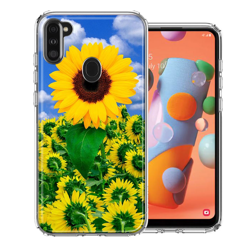 Samsung A11 Sunflowers Design Double Layer Phone Case Cover