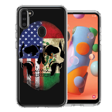 Samsung A11 US Mexico Flag Skull Double Layer Phone Case Cover