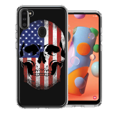 Samsung A11 US Flag Skull Double Layer Phone Case Cover