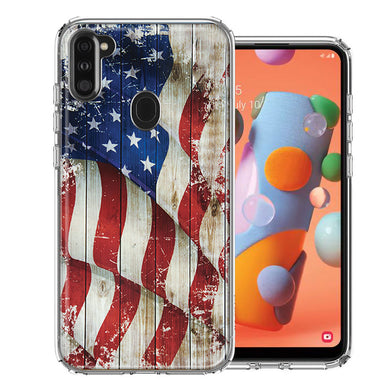 Samsung A11 Vintage American Flag Design Double Layer Phone Case Cover