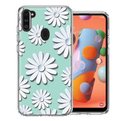 Samsung A11 White Teal Daisies Design Double Layer Phone Case Cover