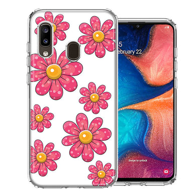 Samsung A20 Pink Daisy Flower Design Double Layer Phone Case Cover