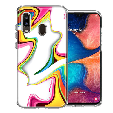 Samsung A20 Rainbow Abstract Design Double Layer Phone Case Cover