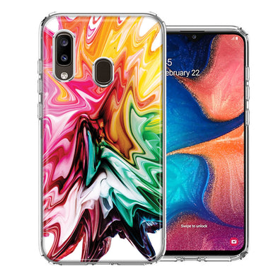 Samsung A20 Rainbow Flower Abstract Design Double Layer Phone Case Cover