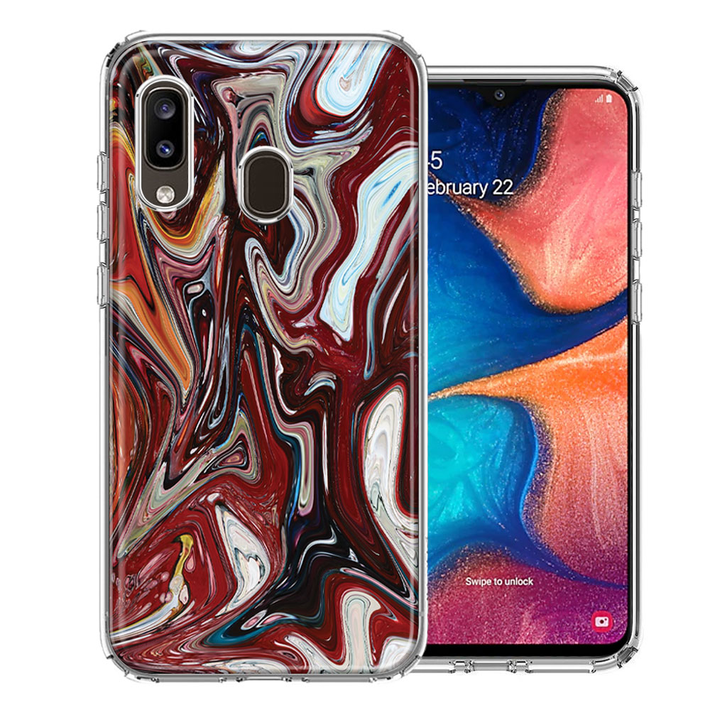 Samsung A20 Red White Abstract Design Double Layer Phone Case Cover