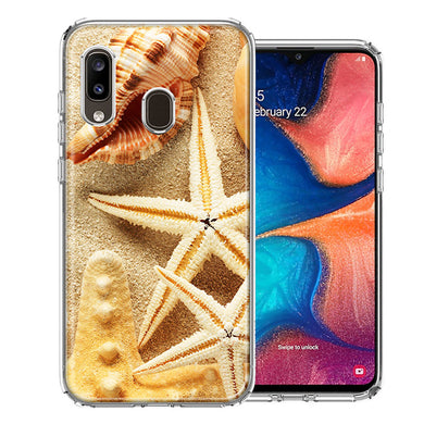 Samsung A20 Sand Shells Starfish Design Double Layer Phone Case Cover