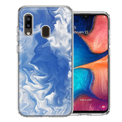 Samsung A20 Sky Blue Swirl Design Double Layer Phone Case Cover