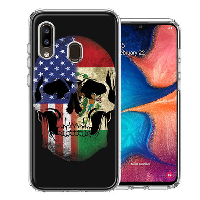 Samsung A20 US Mexico Flag Skull Double Layer Phone Case Cover