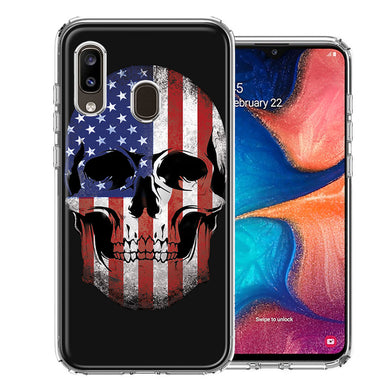 Samsung A20 US Flag Skull Double Layer Phone Case Cover