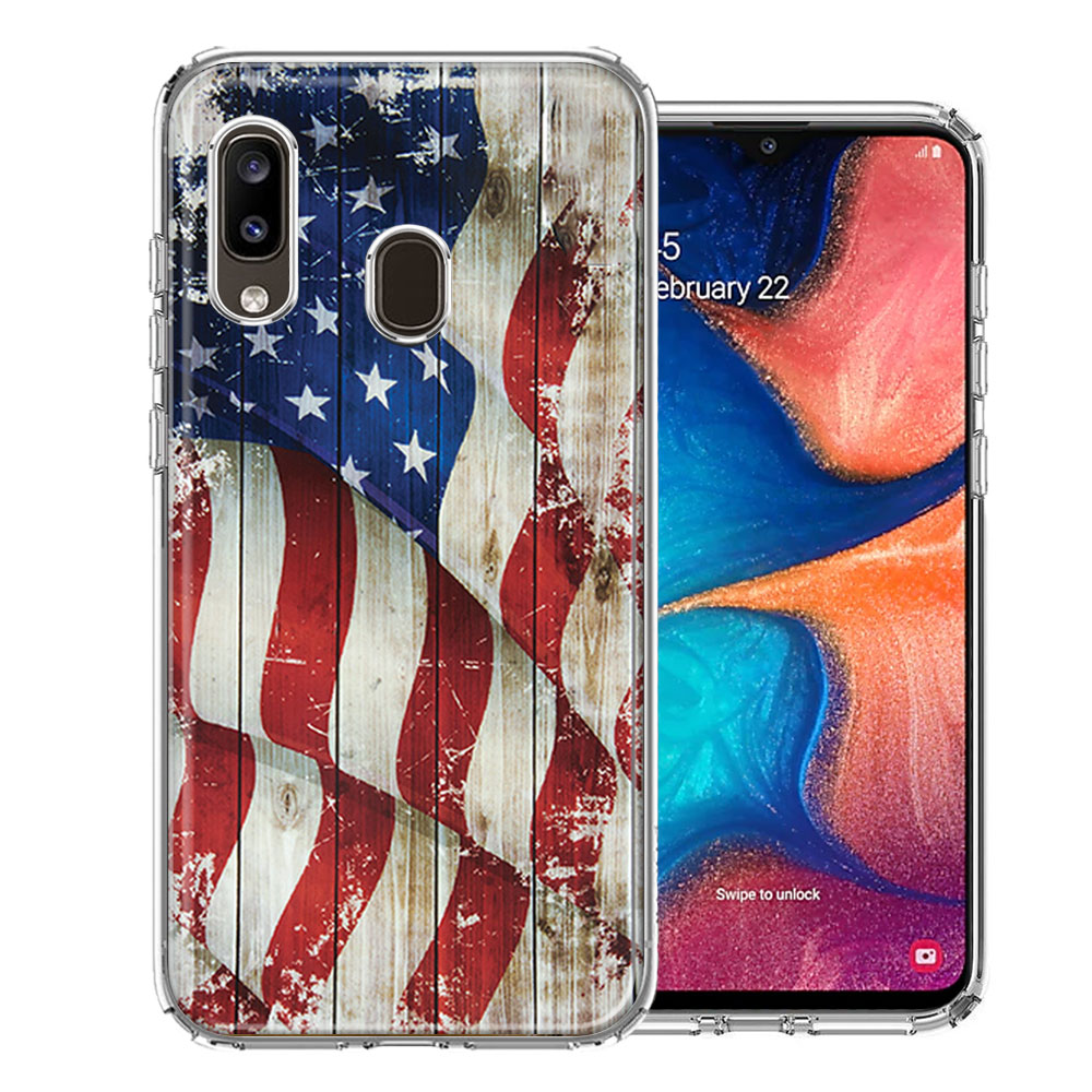 Samsung A20 Vintage American Flag Design Double Layer Phone Case Cover