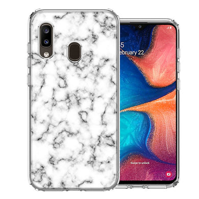 Samsung A20 White Grey Marble Design Double Layer Phone Case Cover