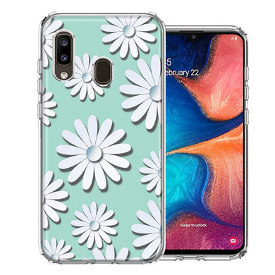 Samsung A20 White Teal Daisies Design Double Layer Phone Case Cover