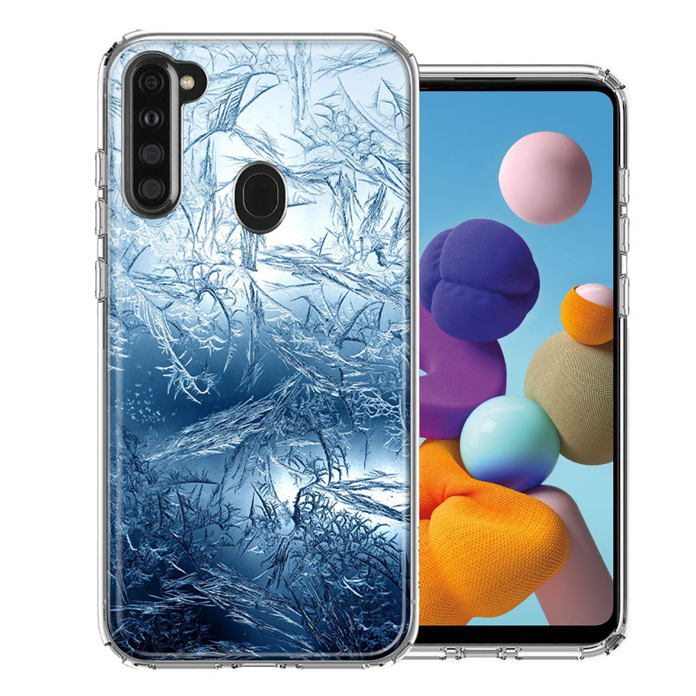 Samsung A21 Blue Ice Design Double Layer Phone Case Cover