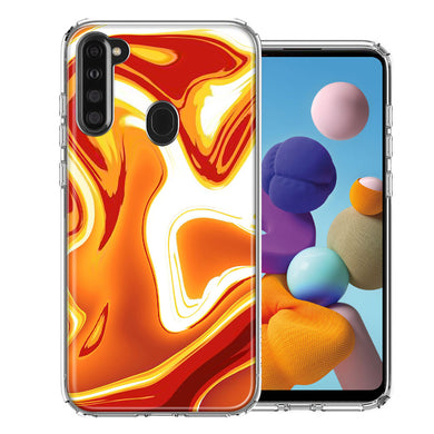 Samsung A21 Orange White Abstract Design Double Layer Phone Case Cover