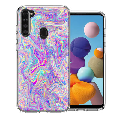 Samsung A21 Paint Swirl Design Double Layer Phone Case Cover