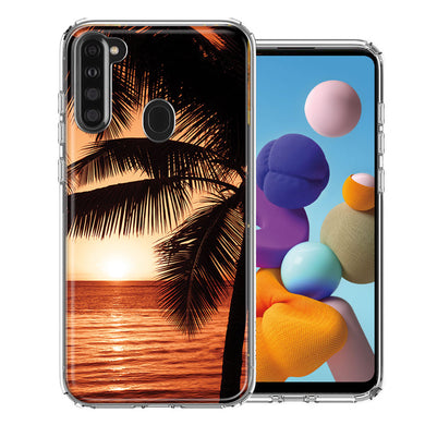 Samsung A21 Paradise Sunset Design Double Layer Phone Case Cover