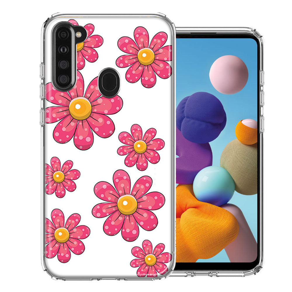 Samsung A21 Pink Daisy Flower Design Double Layer Phone Case Cover