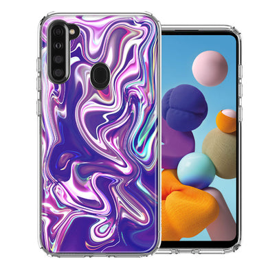 Samsung A21 Purple Paint Swirl  Design Double Layer Phone Case Cover