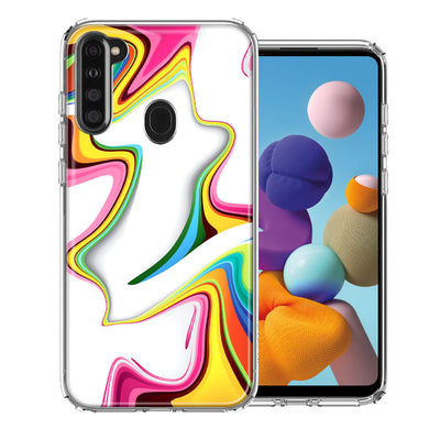 Samsung A21 Rainbow Abstract Design Double Layer Phone Case Cover