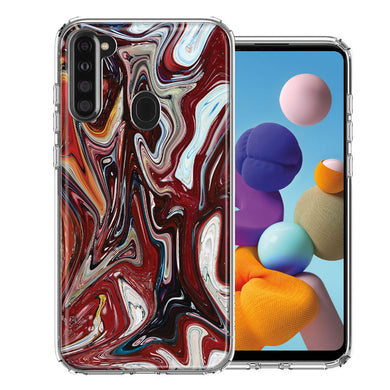 Samsung A21 Red White Abstract Design Double Layer Phone Case Cover