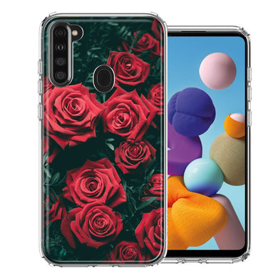 Samsung A21 Red Roses Design Double Layer Phone Case Cover