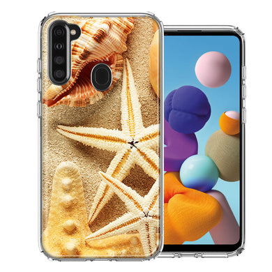 Samsung A21 Sand Shells Starfish Design Double Layer Phone Case Cover