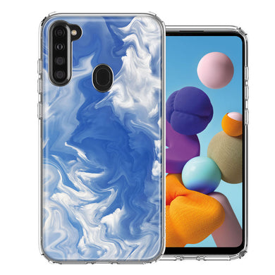 Samsung A21 Sky Blue Swirl Design Double Layer Phone Case Cover