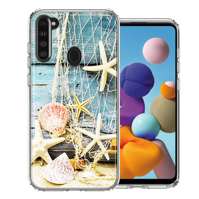 Samsung A21 Starfish Net Design Double Layer Phone Case Cover