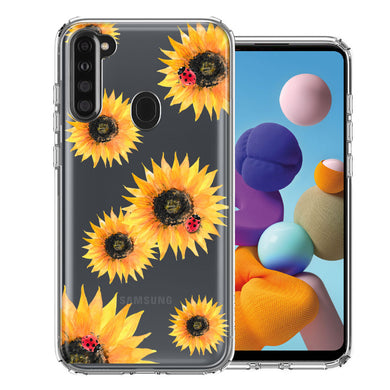 Samsung A21 Sunflower Ladybug Design Double Layer Phone Case Cover