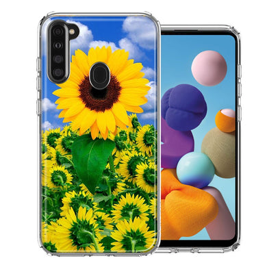 Samsung A21 Sunflowers Design Double Layer Phone Case Cover