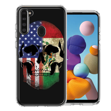 Samsung A21 US Mexico Flag Skull Double Layer Phone Case Cover