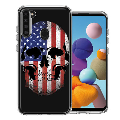 Samsung A21 US Flag Skull Double Layer Phone Case Cover