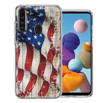 Samsung A21 Vintage American Flag Design Double Layer Phone Case Cover