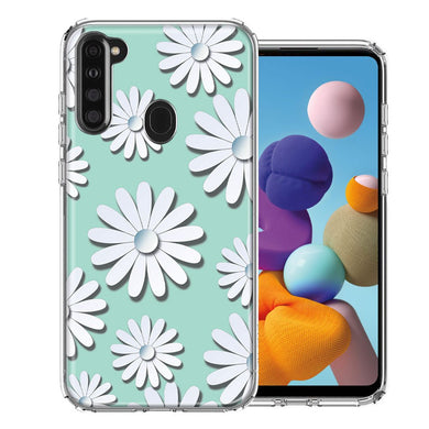 Samsung A21 White Teal Daisies Design Double Layer Phone Case Cover