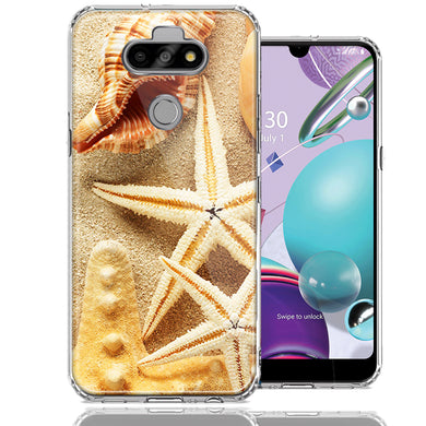 LG Aristo 5/K31/Fortune 3 Sand Shells Starfish Design Double Layer Phone Case Cover