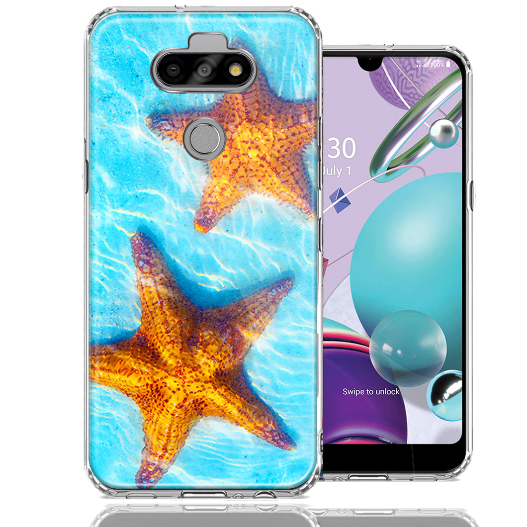 LG Aristo 5/K31/Fortune 3 Ocean Starfish Design Double Layer Phone Case Cover