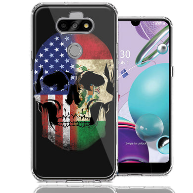 LG Aristo 5/K31/Fortune 3 US Mexico Flag Skull Double Layer Phone Case Cover
