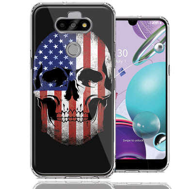 LG Aristo 5/K31/Fortune 3 US Flag Skull Double Layer Phone Case Cover