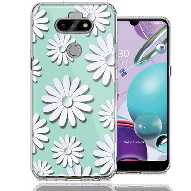 LG Aristo 5/K31/Fortune 3 White Teal Daisies Design Double Layer Phone Case Cover