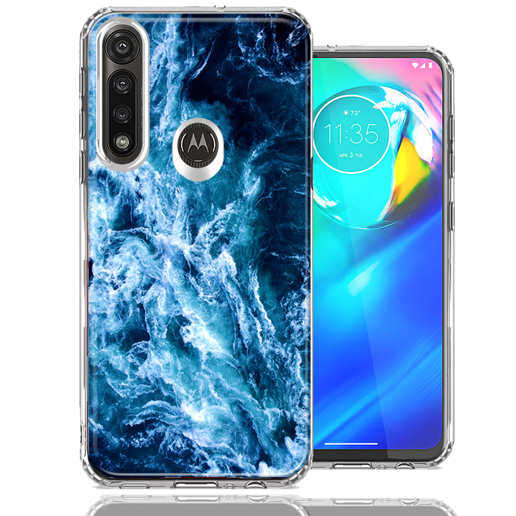 Motorola Moto G Power Deep Blue Ocean Waves Design Double Layer Phone Case Cover