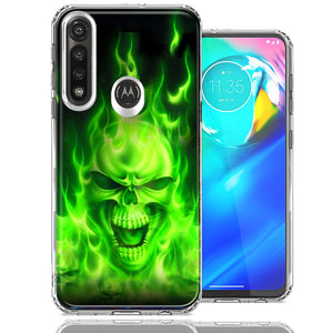 Motorola G Power Green Flaming Skull Design Double Layer Phone Case Cover