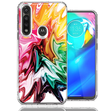 Motorola Moto G Power Rainbow Flower Abstract Design Double Layer Phone Case Cover
