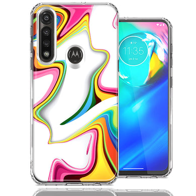 Motorola Moto G Power Rainbow Abstract Design Double Layer Phone Case Cover