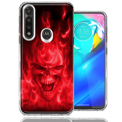 Motorola Moto G Power Red Flaming Skull Design Double Layer Phone Case Cover