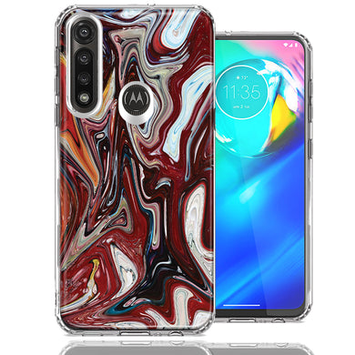 Motorola Moto G Power Red White Abstract Design Double Layer Phone Case Cover