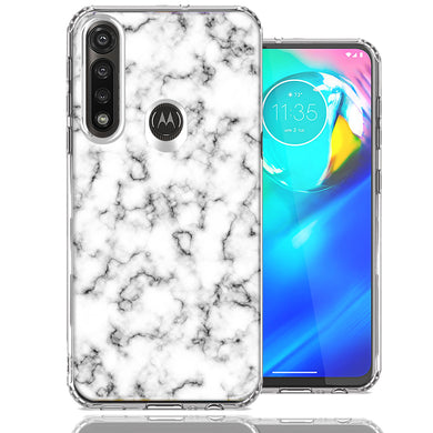 Motorola Moto G Power White Grey Marble Design Double Layer Phone Case Cover