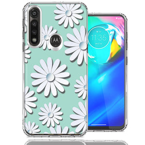 Motorola G Power White Teal Daisies Design Double Layer Phone Case Cover