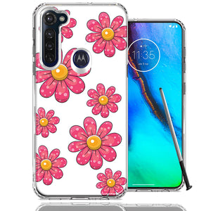 Motorola Moto G stylus Pink Daisy Flower Design Double Layer Phone Case Cover